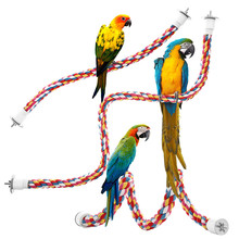 Parrot Bird Toys Rope Braided Pet Parrot Rope Budgie Perch Coil Cage Cockatiel Toy Pet Birds Toy Training Accessories#Y5 pet bird climbing net bird parrot toys hemp rope training climbing cage toy pet bed bird cage toy 15