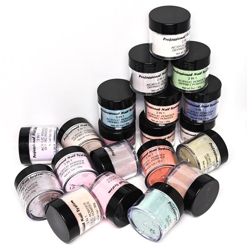 20 cores acyrlic pó 2in1 claro e branco grande mergulho prego kit. Acrílico 30g nude pó acrílico rosa 1 oz para manicure, foz