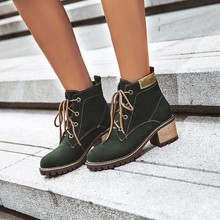 women ankle boots chunky high heels pumps lace up matin shoes woman  booties wxz145 simple women s pumps with lace up and chunky heeled design
