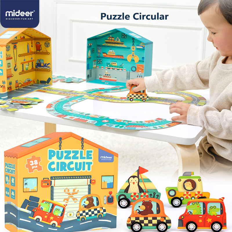 MiDeer Puzzles 38PCS Jigsaw Assembling Puzzles Toys Kids Games Educational Toys Construction Traffic Circle For 3-6Y Children