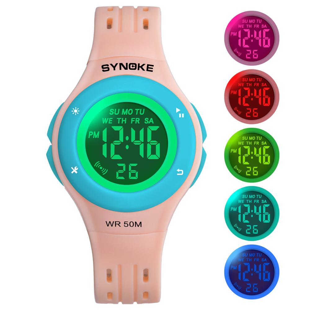 Children Digital Watch Sports Waterproof Alarm Clock Colorful LED Cute Boys Girls Wristwatch Kids Electronic Watch