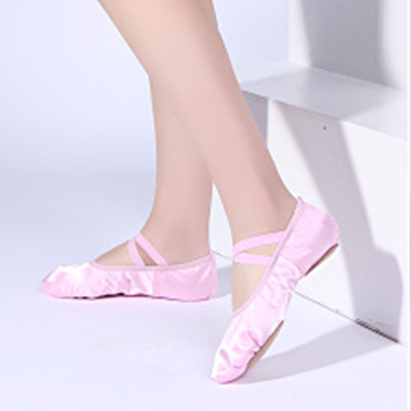 Yukigaga Satin Ballet Shoes With Ribbon Straps Round Toe Indoor Yoga Shoes Adult Girls Soft Split Sole Satin Dance Ballerina