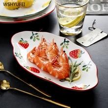 Creative Painted Strawberry Lemon Kitchen Plate Small Fresh Steak Fruit Dessert Cake Bread Plate Ceramic Round Storage Tray