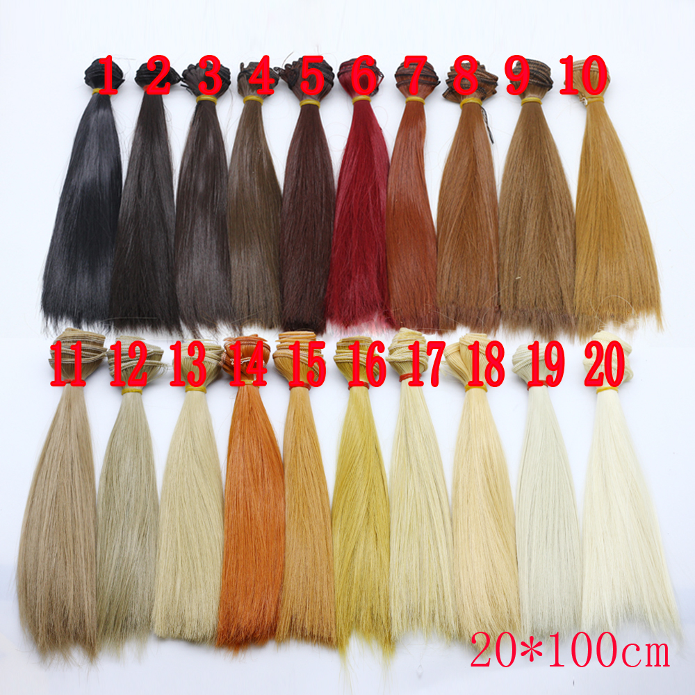 20cm*100cm Long straight High Temperature Fiber <font><b>BJD</b></font> SD <font><b>Wigs</b></font> DIY hair for 1/6 1/3 1/4 <font><b>1/8</b></font> 1/12 <font><b>dolls</b></font> Free shipping image