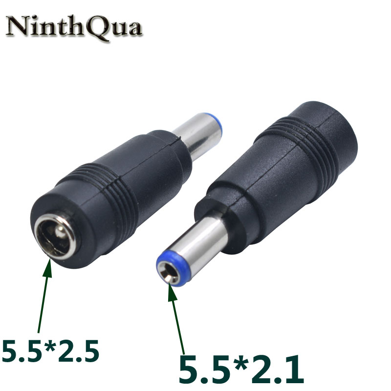 NinthQua 1pcs 5.5*2.5 Mm Female To 5.5*2.1 Mm Male DC Power Connector Adapter Laptop 5.5*2.1 To 5.5*2.5