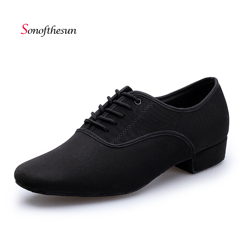 Men Modern Ballroom Latin Tango Dance Shoes Men's Salsa Heeled Black Ballroom Dancing Shoes Dancesport Comfortable Breathe Shoe