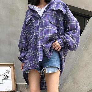 Image 2 - Рубашки женские свободные в Корейском стиле, модная однобортная Солнцезащитная рубашка в стиле Харадзюку, с длинным рукавом, для школьников и студентов, повседневные