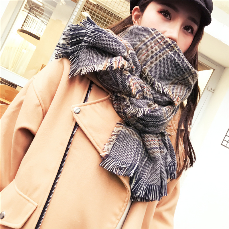 Korean-style Wool Scarf Women's Autumn & Winter Faux Cashmere Thousands Of Birds Sub-Shawl Tatting Europe And America Ethnic-Sty