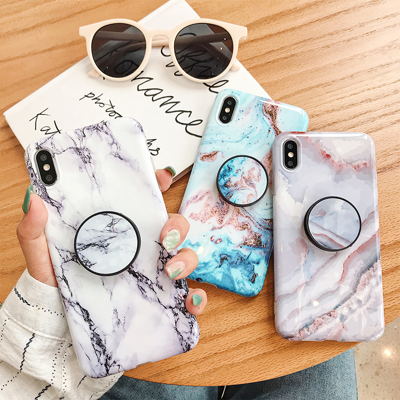 US $2.2 25% OFF Marble Holder Case For iPhone 11Pro Max 11Pro X XS XR XS MAX 11 7 8 6 6S Plus Grip Kickstand Soft Silicone Cell Phone Back Cover Fitted Cases     - AliExpress