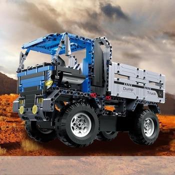 2 in 1 Spell Insert Remote Control Dump Truck Building Blocks Parent-Child Interactive Toys Children Remote Control Car Gift