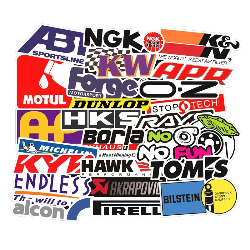 103PCS Racing Car Stickers Car Styling JDM Waterproof Sticker To DIY Motocross Racing Helmet Skateboard Bicycle Laptop Luggage
