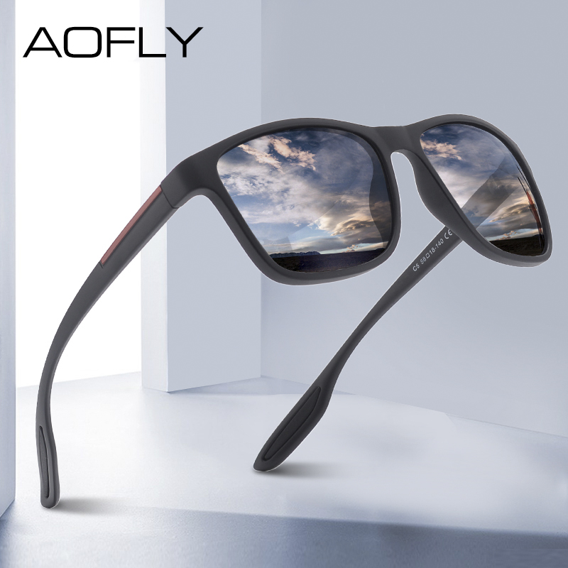 AOFLY DESIGN Ultralight TR90 Polarized Sunglasses Men Fashion Male Sun Glasses For Driving Square Eyewear zonnebril heren UV400|Men