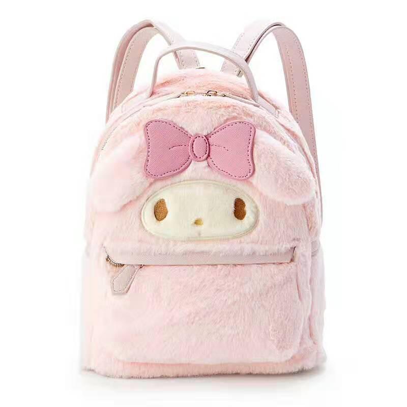Cinnamoroll My Melody Small Plush Backpack Cute Cartoon Ears Pink  Leather Back Pack Mini Backpack for Teenage Girls KnapsackBackpacks