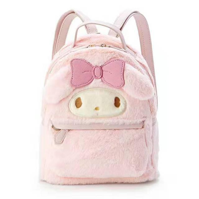 Cinnamoroll benim Melody küçük peluş sırt çantası sevimli karikatür kulaklar pembe deri sırt çantası Mini genç kızlar için sırt çantası sırt çantası