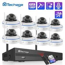 Techage 8CH 1080P نظام كاميرا أمان لاسلكية 2.0MP NVR CCTV داخلي قبة واي فاي كاميرا IP الأشعة تحت الحمراء ليلة P2P مجموعة مراقبة الفيديو