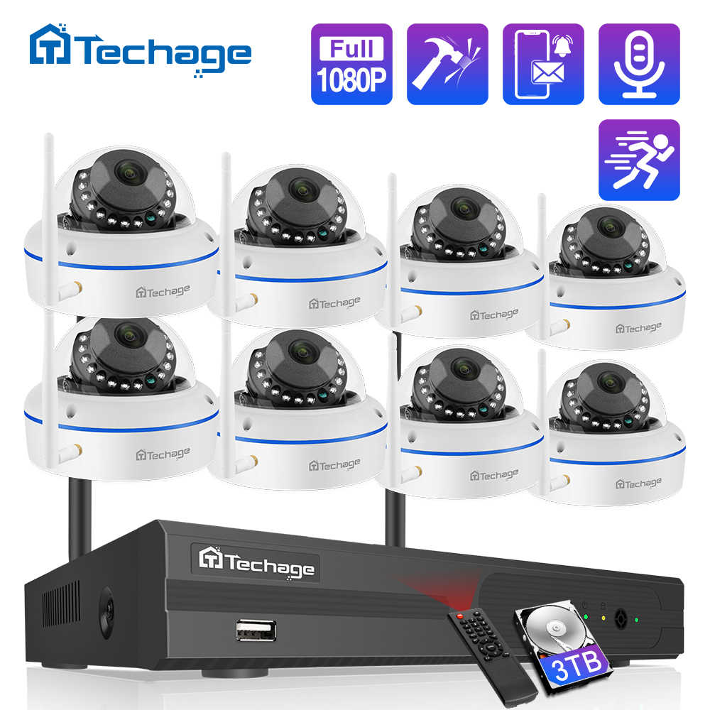 Techage 8CH 1080P Wireless Securityกล้องระบบ 2.0MP NVRกล้องวงจรปิดในร่มWiFiกล้องIPกล้องIR Night P2Pวิดีโอการเฝ้าระวังชุด