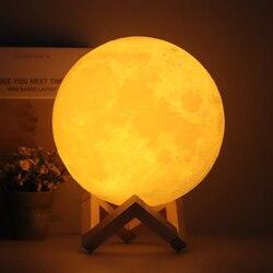 3d-лампа в виде Луны с напечатанным ночным светильником и пультом дистанционного управления/сенсорный светодиодный лунный светильник в фор...