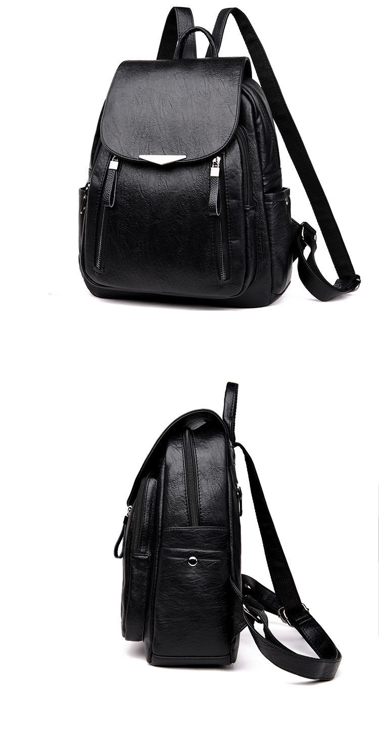 Hc44d238a44f141e7b200efb93aa5d1a0X - Women Backpack PU Female backpacks Vintage Leather School Bags Large Capacity School Bag for Girls Double Zipper Shoulder Bags