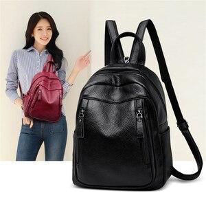 Image 2 - Высококачественный Женский рюкзак VANDERWAH 3 в 1, женский кожаный рюкзак на молнии, нагрудная сумка, вместительная школьная сумка, дорожная сумка