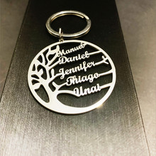 Steellove Tree of Life Keychain Customized Family Tree Name Keyring Jewelry Stainless Steel Key Chain Couple Christmas Gift