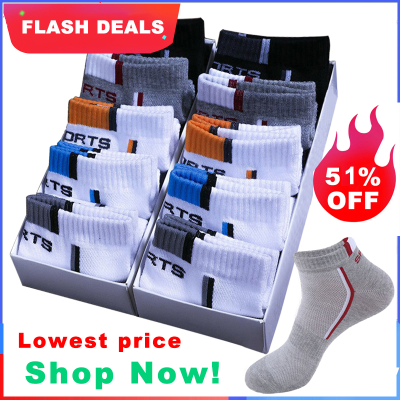 Ankle-Socks Short Mesh Athletic Thin Sokken-Size Breathable Cotton Men High-Quality 10-Pair