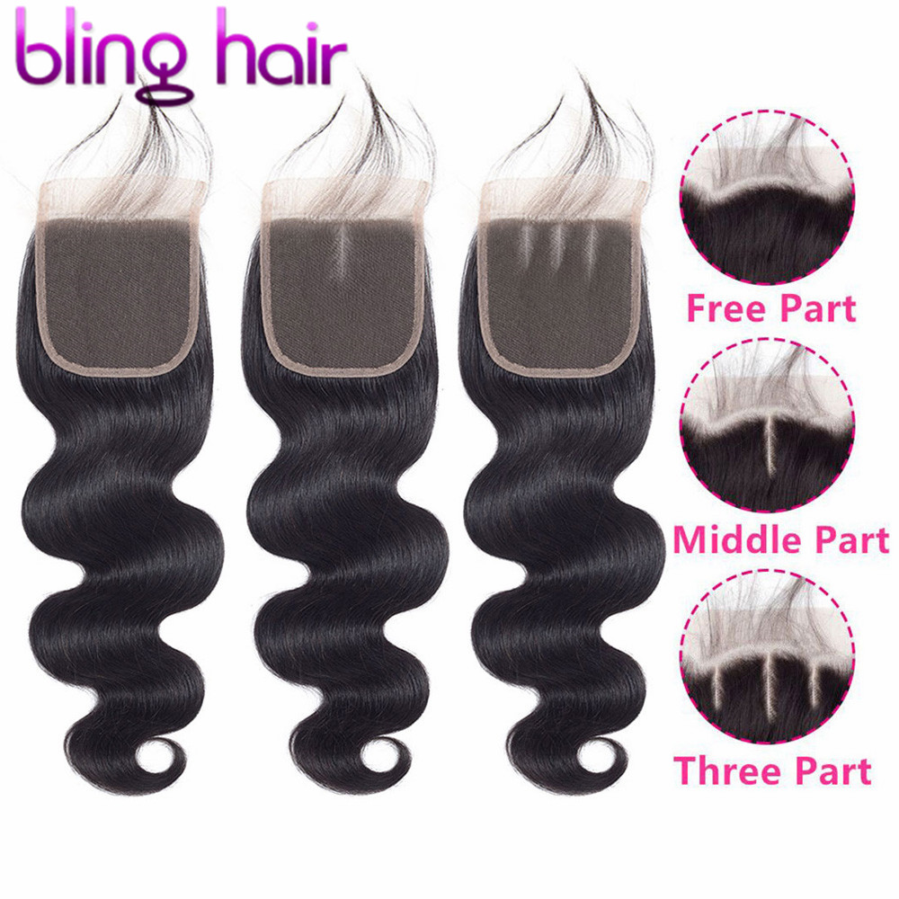 Шикарные бразильские волнистые волосы 4*4, закрытие шнурка, свободная/Средняя/три части, 100% человеческие волосы Remy, закрытие натурального цв...