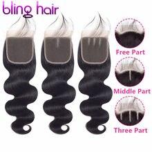 Cabelo brasileiro ondulado 4*4, cabelo humano remy livre/médio/3 partes 100% fechamento de cor natural frete grátis