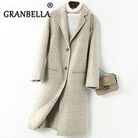 Vintage plaid coat Double faced cashmere coats long elegant Women's winter slim checked woolen overcoat manteau femme