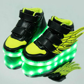 2018 spring new children leisure led girls luminescent sports baby luminous shoes boys glowing kids sneakers lights New usb charging glowing sneakers Kids Running led angel's wings kids with lights up luminous shoes girls' boys' shoes