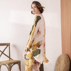 Image 2 - HOT SELLING Ladies Pajamas Set Comfort Loose 3Pcs Set Floral Printed Elegant Soft Homewear Femme Sleepwear For Spring And Autumn