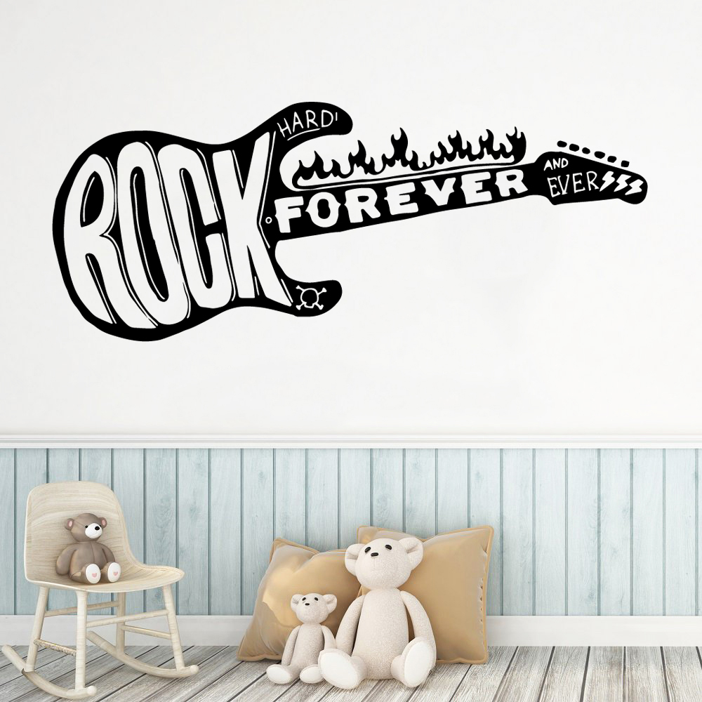 Fun guitar rock forever Decorative Sticker Waterproof Home Decor For Kids Rooms Nursery Room Vinyl Art Decal