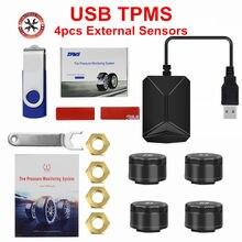 Sistema de monitoramento da pressão dos pneus do carro usb tpms para a navegação de android com 4 alarme interno/externo da pressão dos pneus do sensor