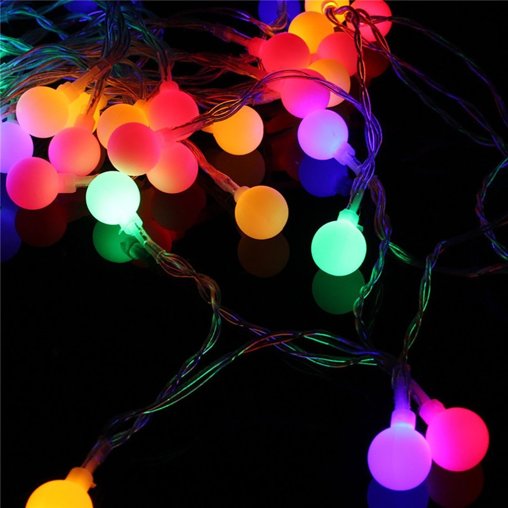40 LED Frosted White Ball Christmas Tree Holiday Home Interior Light String 220V Warm White