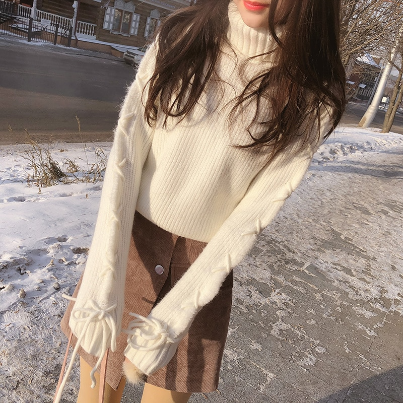 Mishow Woman Pullovers 2018 Korean Solid Loose Autumn Winter Female Long Sleeve Casual Sweater Turtleneck MX17D5151