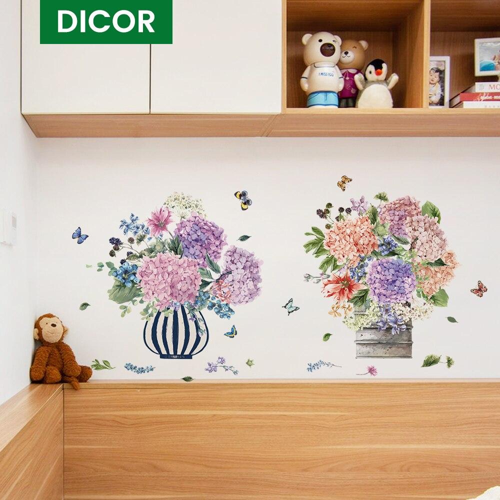 Ikebana Wand Aufkleber Schlafzimmer Blume Ein Stück Kühlschrank Aufkleber Wohnzimmer Küche Möbel Hause Dekoration Zubehör QT1831