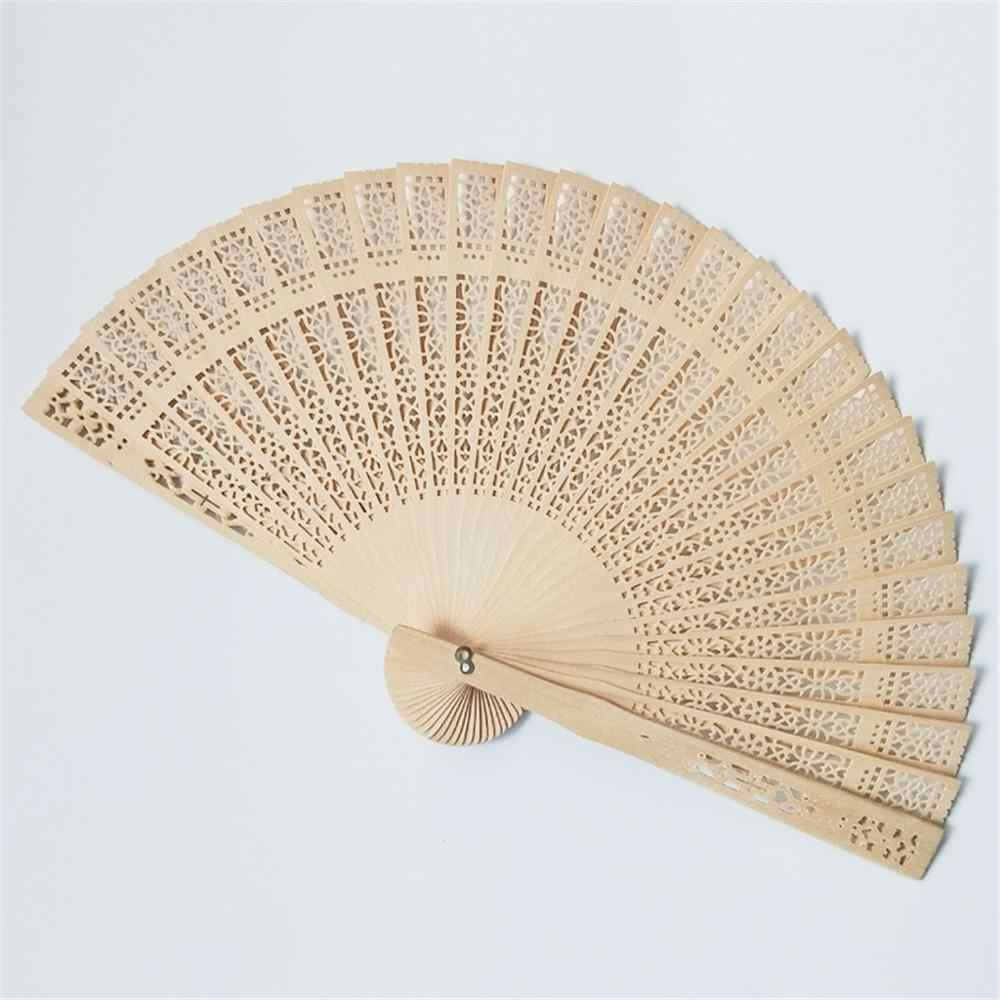 20CM Hand Held Wooden Folding Fan Sandalwood Openwork Hollow Wood Carving Craft Fan Floral Pattern Wedding Fan Dance  Wooden Fan