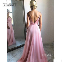 V-Neck Spaghetti Straps Pink Cheap Prom Dresses 2019 Floor-Length Backless Sexy Evening Dress Party Maxys Simple Long Prom Gown(China)