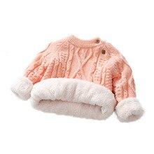 Зимний свитер для маленьких девочек, зимняя одежда, толстый теплый флисовый пуловер, детские вязаные рубашки для мальчиков, хлопковые топы с длинными рукавами для детей 1, 2, 3 лет