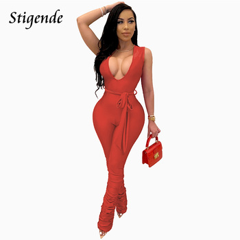 Stigende Summer Sleeveless Ruched Bodycon Jumpsuit Women Sexy Deep V Neck Party Jumpsuit Fashion Bandage One Piece Jumpsuit фото