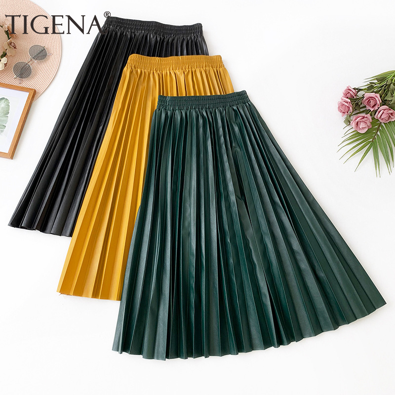 TIGENA Pu Leather Skirt Women Fashion 2019 Autumn Winter Casual A-line High Waist Pleated Midi Skirt Female Pink Green Yellow