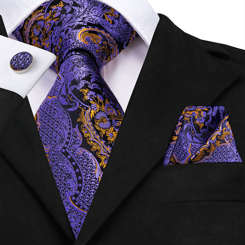 Hi-Tie Purple Paisley Ties For Men Luxury Tie Silk Set Men's Necktie Pocket Square Cufflinks Set Men's Wedding Party Fashion Tie