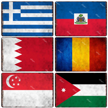 Cartel de placa de estaño con bandera de Jordan Singapore Romania Baréin Haiti Greece placa de Metal decoración para el hogar Metal decorativo Estilo Vintage