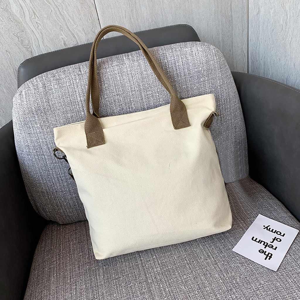 Totes Supermarket Bag Tren Kapasitas Besar Kanvas Wanita Tas Wanita Kasual Tas Belanja Kain Foldable Katun Belanja Tas