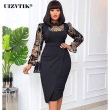Лоскутное черное кружевное женское платье 2020 осень повседневная