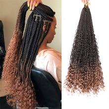 Грязный богиня в богемном стиле коробка косы-Ruly синтетические накладные волосы на крючке, затененные, волосы в косичках 18 дюймов Boho плетены...