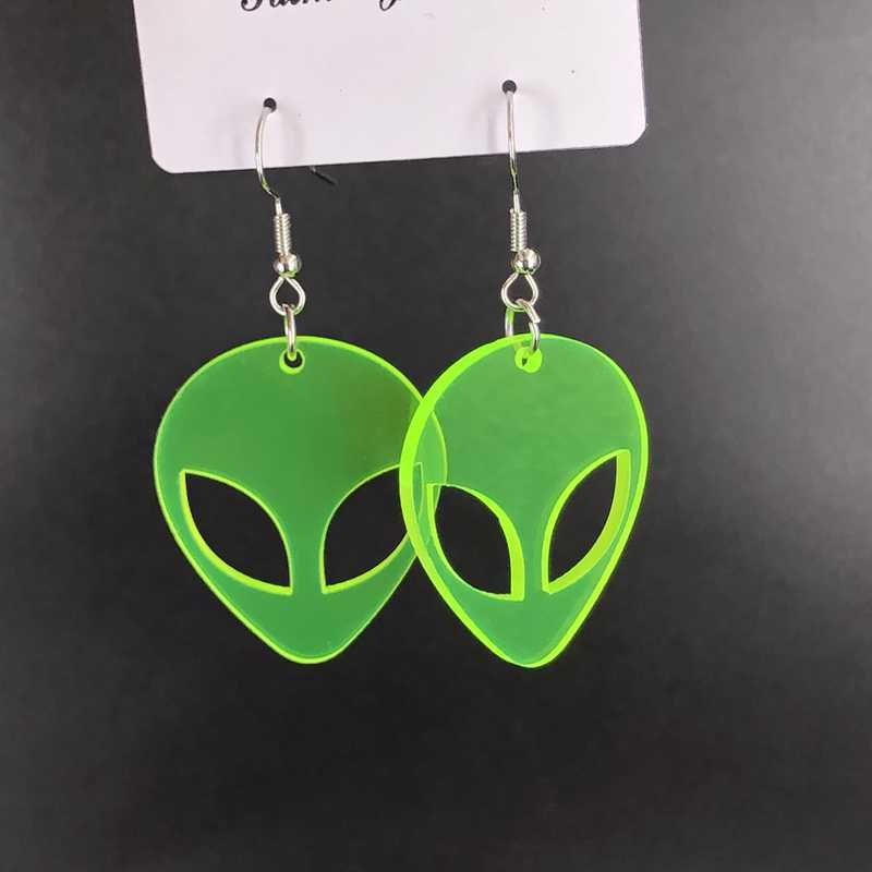 Cartoon Acrylic Alien Vintage Statement Drop Earrings Green ET High Quality Fashion Earrings For Women 2019 Statement Bar Party