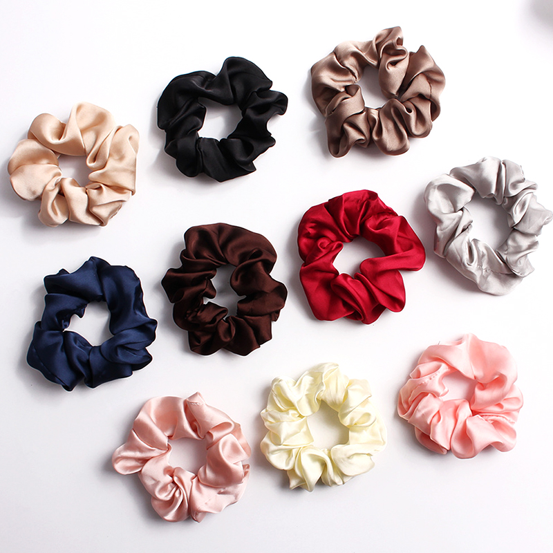 Silky Satin Elastic Hair Bands Scrunchies Elastic Solid Color Hair Tie Rope Ring Ponytail Simple Style Headwear Summer Pink Grey