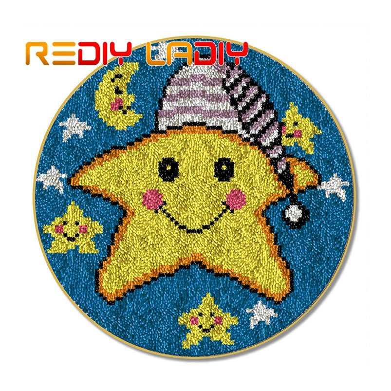 Latch Haken Kits Machen Ihre Eigenen Teppich Cartoon Stern Kissen DIY Teppich Teppich Set Acryl Garn Pre-Gedruckt Farbe leinwand Hobby & Handwerk