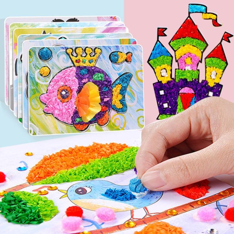 8Pcs/Set DIY Cartoon Paper Crafts Educational Toys For Children Handmade Handicraft Kindergarten Funny Arts And Kids Craft Gifts