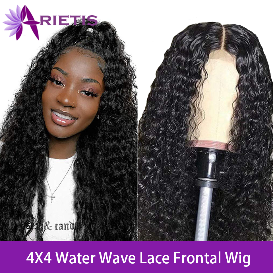 Arietis Water Wave Wig 4X4 Lace Closure Wig Pre Plucked Remy Hair Brazilian Glueless Lace Frontal Human Hair Wigs For Black Wome